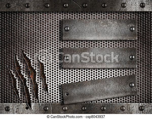 three rusty plates over metal holed or perforated grid background - csp8043937