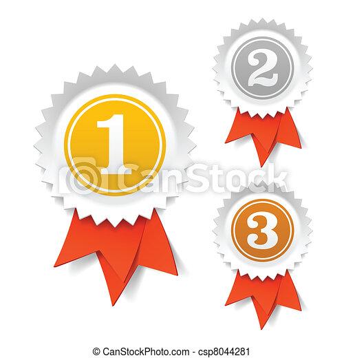 Gold, silver, bronze award ribbons - csp8044281