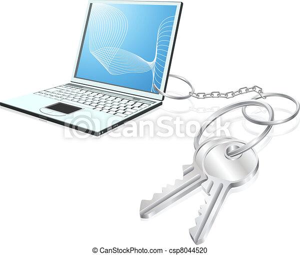 Laptop keys access concept - csp8044520