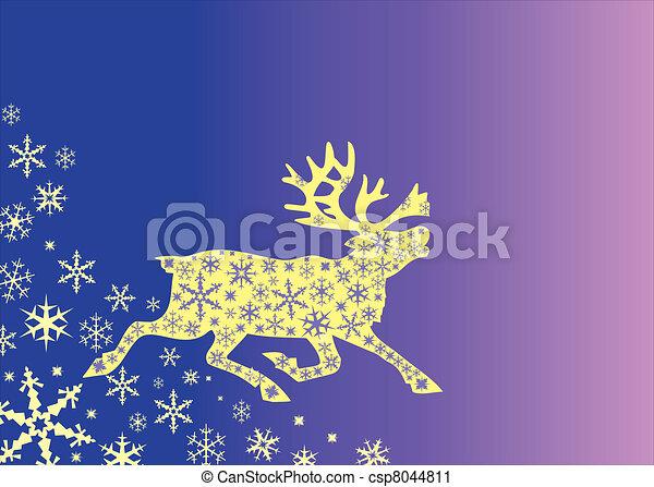 Christmas deer with snowflekes - csp8044811