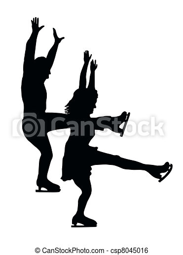 Silhouette Ice Skater Couple Front Kick - csp8045016
