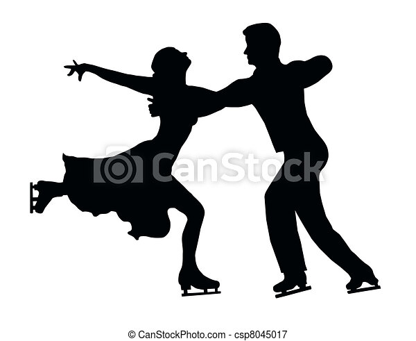 Silhouette Ice Skater Couple Embrace Back Kick - csp8045017