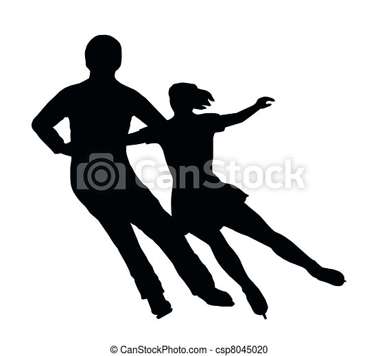 Silhouette Ice Skater Couple Side by Side Turn - csp8045020
