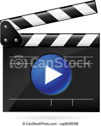 Open movie clapboard on white background - csp8045098