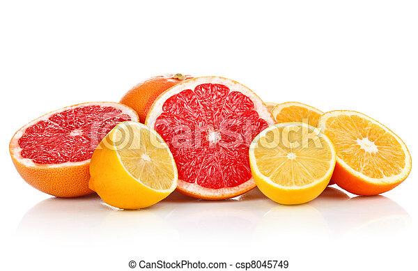 fresh fruits orange lemon grapefruit in cut - csp8045749