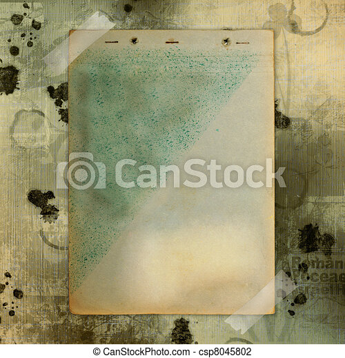 Abstract ancient brown background with set old paper in scrap booking style - csp8045802