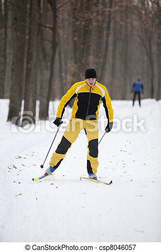 Cross-country skiing man - csp8046057