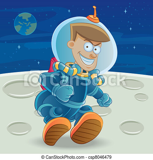 Astronaut at The Moon - csp8046479