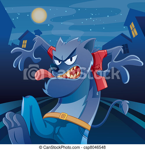Werewolf Cartoon - csp8046548