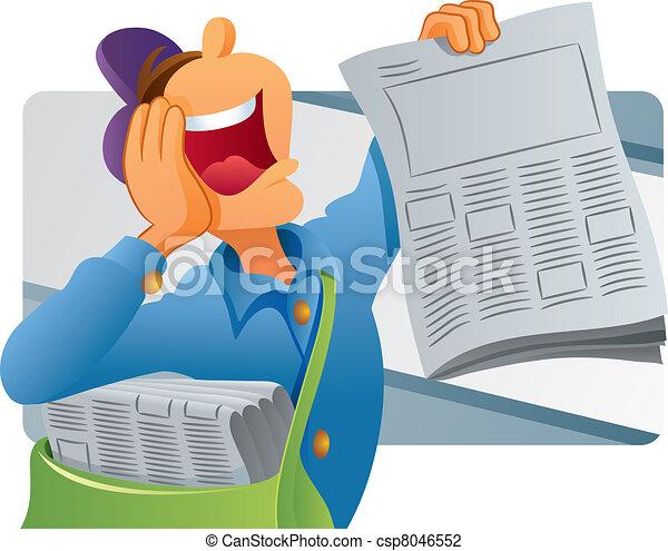Paper Boy Selling Newspaper - csp8046552