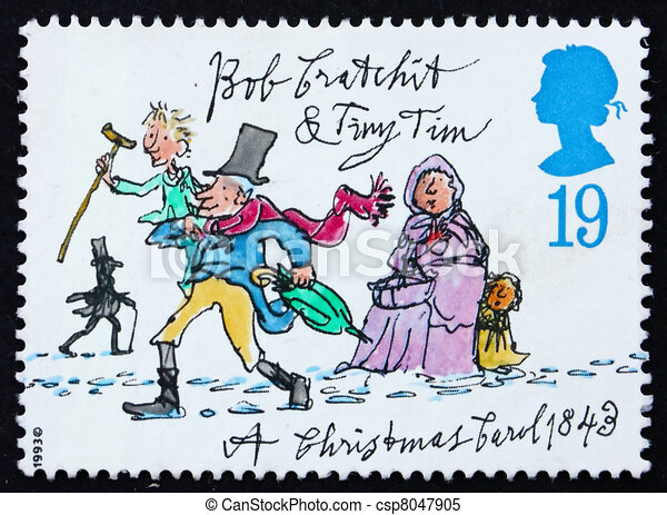 Postage stamp GB 1993 Tiny Tim and Bob Cratchit - csp8047905