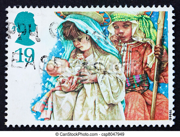 Postage stamp GB 1994 Mary and Joseph with infant Jesus - csp8047949