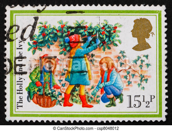 Postage stamp GB 1982 Three girls, the holly and the ivy - csp8048012