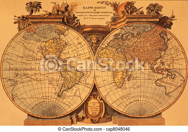 ancient map of the world - csp8048046