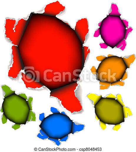 Collection of vector holes in paper - csp8048453