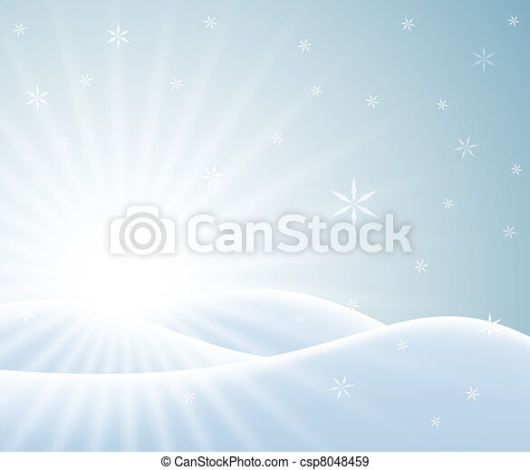Winter card with snowy landscape - csp8048459