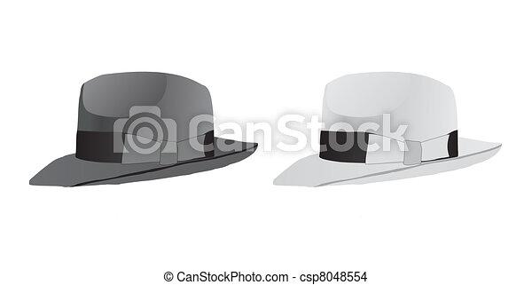 Hat Fedora White And Black