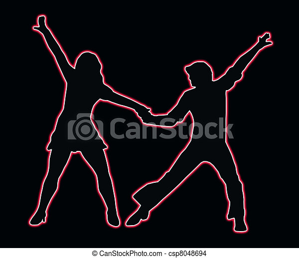 Lets Party Dancing 70s Neon Outline Couple - csp8048694