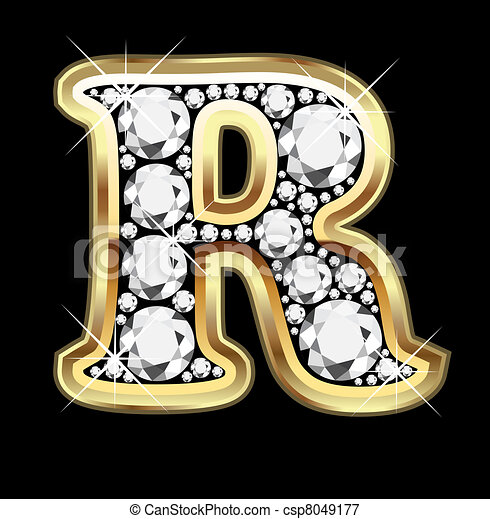 R gold and diamond bling  - csp8049177