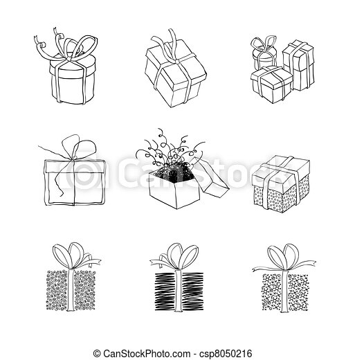 Gift box for xmas designs. Set of nine illustrations.Vector, EPS8 - csp8050216