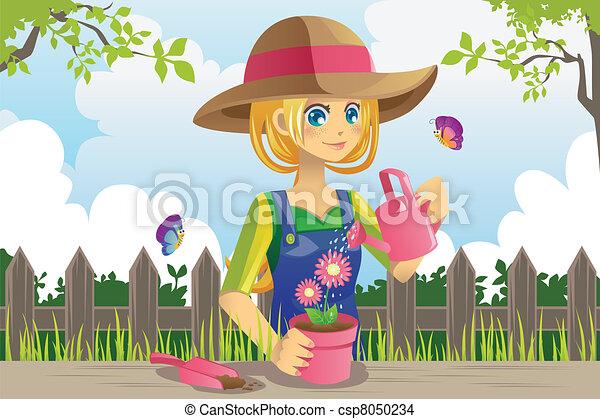 Gardening woman - csp8050234