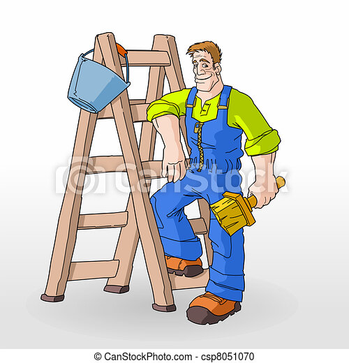 Painter Painting With Ladder - csp8051070
