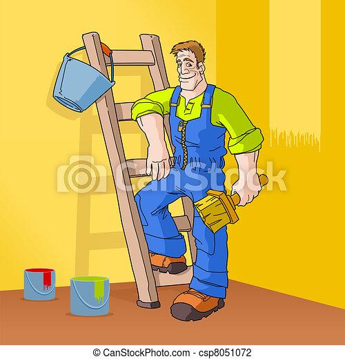Painter in Orange Room - csp8051072