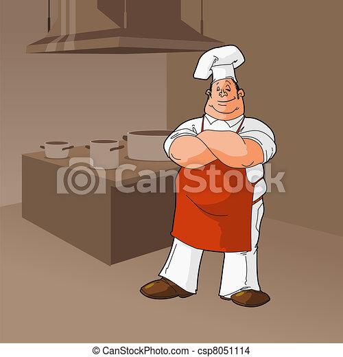 Cook In a Kitchen Clip Art - csp8051114