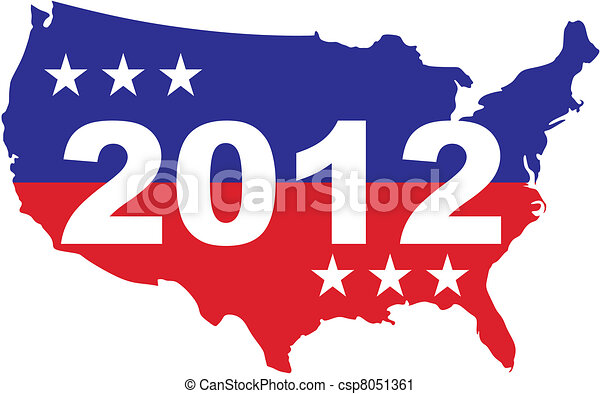 Us Election 2012 Us Map With 2012 Inscription