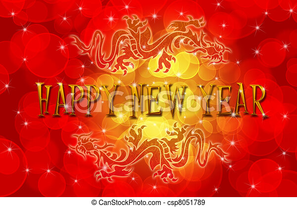 Double Chinese Dragon with Happy New Year Wishes - csp8051789
