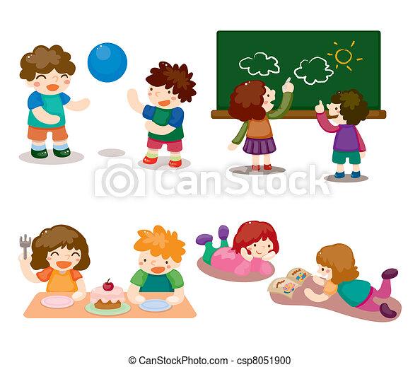 cartoon kid playing set - csp8051900