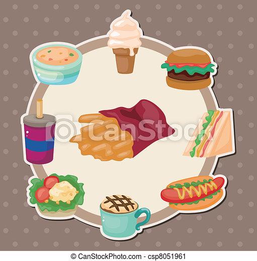 Vector Clip Art de caricatura, comida rápida, tarjeta csp8051961 ...