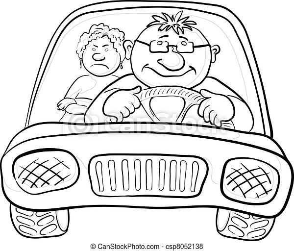 Car, driver and passenger, contours - csp8052138