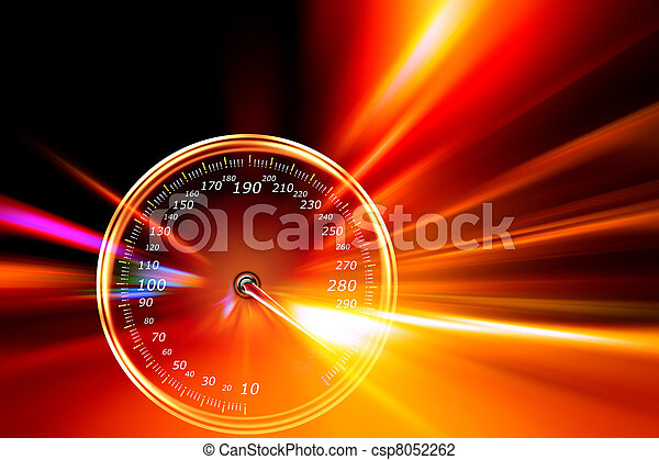 acceleration speedometer on night road - csp8052262