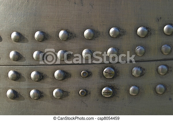 Metal texture with rivets and screw - csp8054459