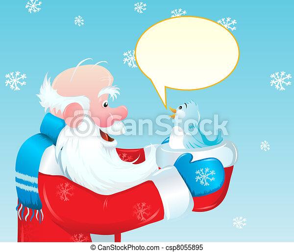 Santa and the blue bird - csp8055895