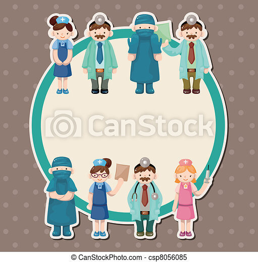 cartoon doctor and nurse card - csp8056085