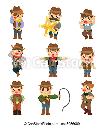 cartoon cowboy icon - csp8056089