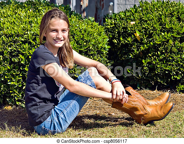 Preteen Girl with Boots - csp8056117