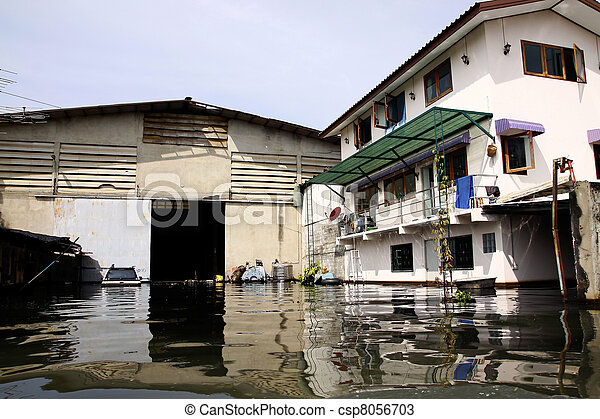 flood waters overtake house in Thai - csp8056703