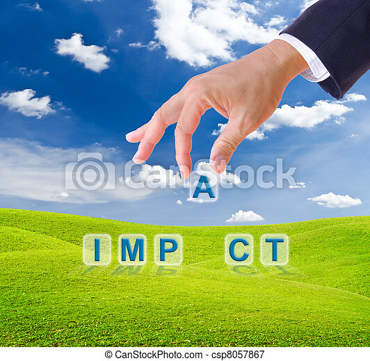 business man hand made impact word buttons - csp8057867
