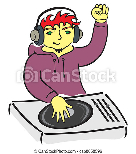 Clip Art Vector of DJ behind console - Illustration of DJ playing ...