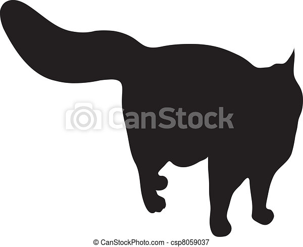 Silhouette of the well-fed cat - csp8059037
