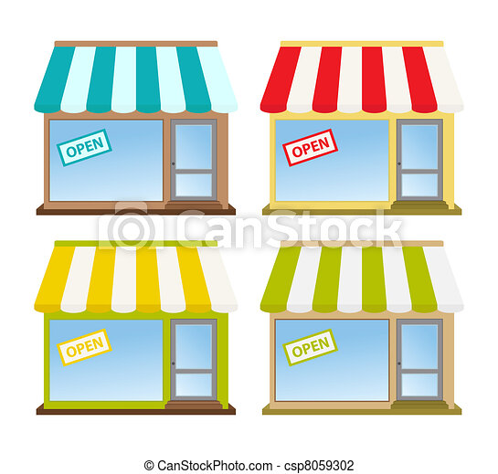 Vector Illustration of storefront - four color store fronts ...