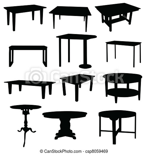 EPS Vectors Of Tables For Home In Black Color Silhouette