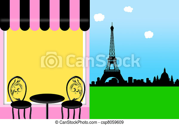 Cafe Bistro in Paris with Eiffel Tower Illustration - csp8059609