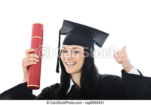 Student girl in an academic gown, graduating and diploma - csp8060431