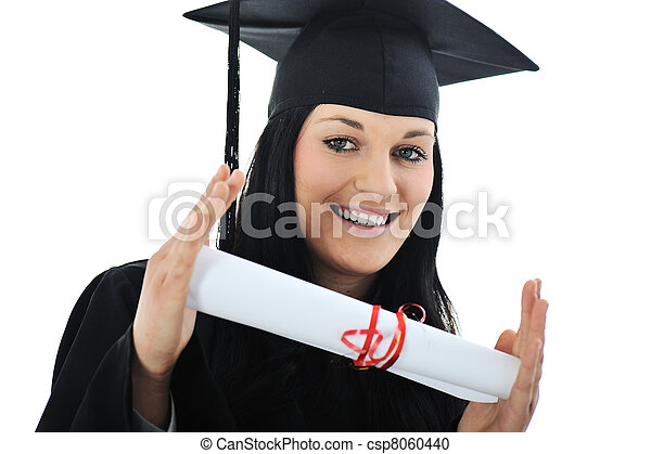 Student girl in an academic gown, graduating and diploma - csp8060440