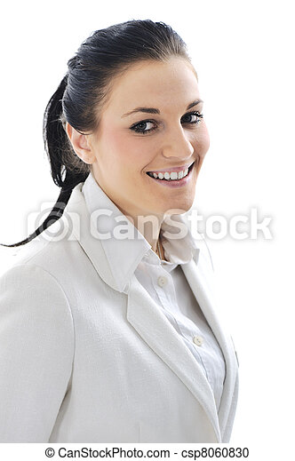 Young business woman wearing white suit - csp8060830