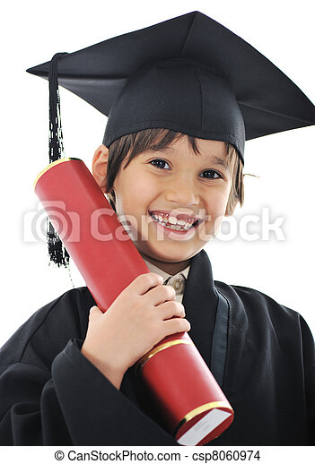 Diploma graduating little student kid, successful elementary school - csp8060974